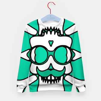 Miniature de image de white skull with glasses and mustache and green background Kid's sweater, Live Heroes