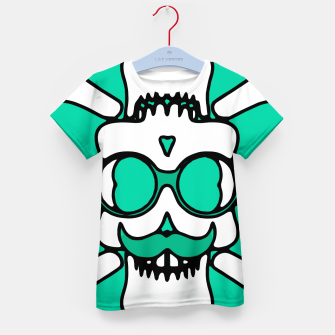Miniature de image de white skull with glasses and mustache and green background Kid's t-shirt, Live Heroes