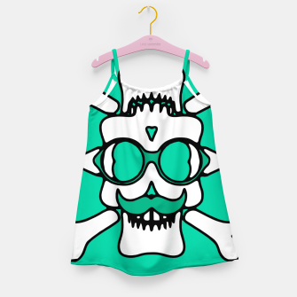 Miniature de image de white skull with glasses and mustache and green background Girl's dress, Live Heroes