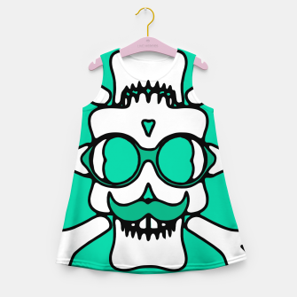 Miniature de image de white skull with glasses and mustache and green background Girl's summer dress, Live Heroes