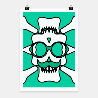 Miniature de image de white skull with glasses and mustache and green background Poster, Live Heroes