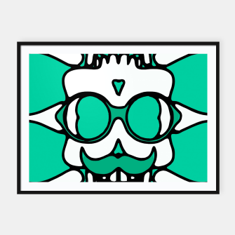 Miniature de image de white skull with glasses and mustache and green background Framed poster, Live Heroes