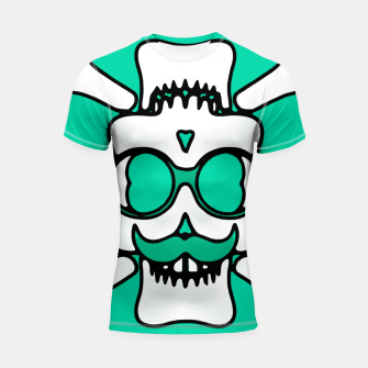 Miniature de image de white skull with glasses and mustache and green background Shortsleeve rashguard, Live Heroes