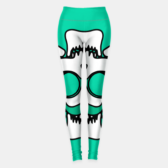 Miniature de image de white skull with glasses and mustache and green background Leggings, Live Heroes