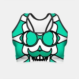 Miniature de image de white skull with glasses and mustache and green background Crop Top, Live Heroes