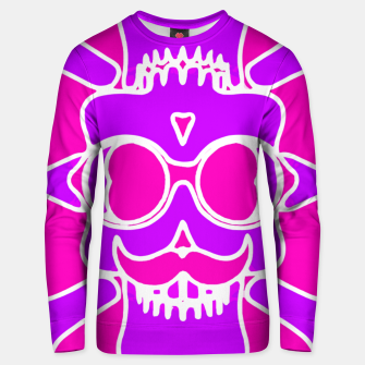 Miniature de image de purple skull with glasses and mustache and pink background Unisex sweater, Live Heroes
