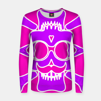 Miniature de image de purple skull with glasses and mustache and pink background Women sweater, Live Heroes