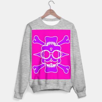 Miniature de image de purple skull with glasses and mustache and pink background Sweater regular, Live Heroes
