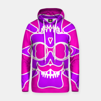 Miniature de image de purple skull with glasses and mustache and pink background Hoodie, Live Heroes