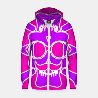 Miniature de image de purple skull with glasses and mustache and pink background Zip up hoodie, Live Heroes