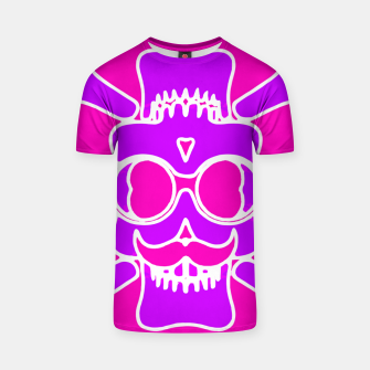 Miniature de image de purple skull with glasses and mustache and pink background T-shirt, Live Heroes