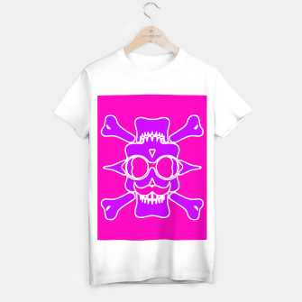 Miniature de image de purple skull with glasses and mustache and pink background T-shirt regular, Live Heroes