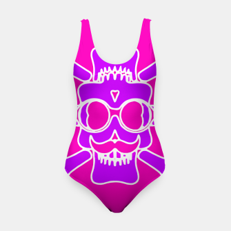 Miniature de image de purple skull with glasses and mustache and pink background Swimsuit, Live Heroes
