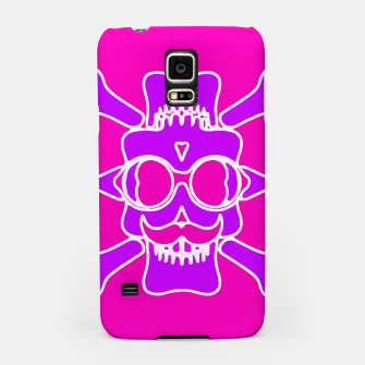 Miniature de image de purple skull with glasses and mustache and pink background Samsung Case, Live Heroes