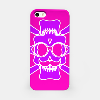 Miniature de image de purple skull with glasses and mustache and pink background iPhone Case, Live Heroes