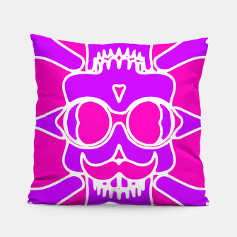 Miniature de image de purple skull with glasses and mustache and pink background Pillow, Live Heroes