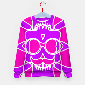 Miniature de image de purple skull with glasses and mustache and pink background Kid's sweater, Live Heroes