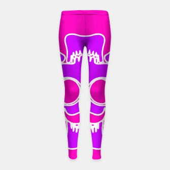 Miniature de image de purple skull with glasses and mustache and pink background Girl's leggings, Live Heroes