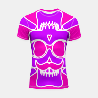 Miniature de image de purple skull with glasses and mustache and pink background Shortsleeve rashguard, Live Heroes