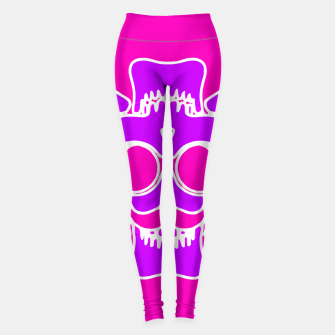 Miniature de image de purple skull with glasses and mustache and pink background Leggings, Live Heroes