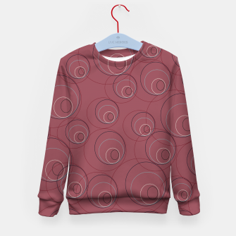 Miniaturka Red Blue Navy and Beige Overlaying Circles on Red Kid's sweater, Live Heroes