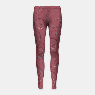 Miniaturka Red Blue Navy and Beige Overlaying Circles on Red Girl's leggings, Live Heroes