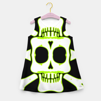 Miniatur green and white square skull and bones with black background Girl's summer dress, Live Heroes