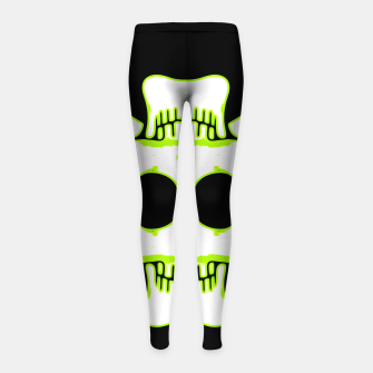 Miniatur green and white square skull and bones with black background Girl's leggings, Live Heroes