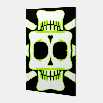 Miniatur green and white square skull and bones with black background Canvas, Live Heroes