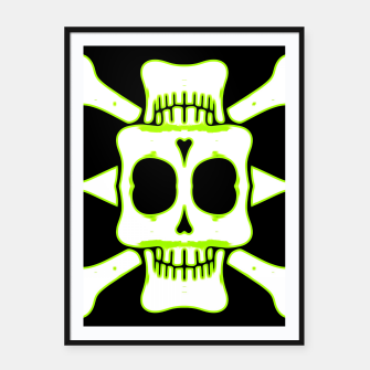 Miniatur green and white square skull and bones with black background Framed poster, Live Heroes