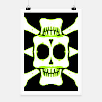 Miniatur green and white square skull and bones with black background Poster, Live Heroes