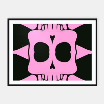 Miniatur pink square skull and bones with black background Framed poster, Live Heroes