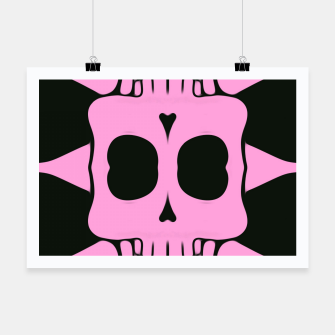 Miniatur pink square skull and bones with black background Poster, Live Heroes