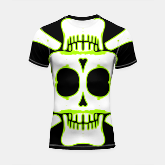 Miniatur green and white square skull and bones with black background Shortsleeve rashguard, Live Heroes
