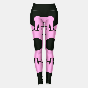 Miniatur pink square skull and bones with black background Leggings, Live Heroes
