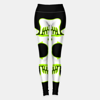 Miniatur green and white square skull and bones with black background Leggings, Live Heroes