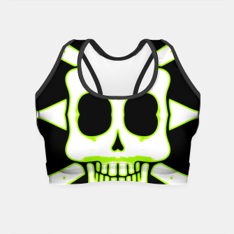 Miniatur green and white square skull and bones with black background Crop Top, Live Heroes