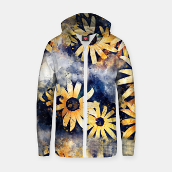 Thumbnail image of Yellow Floral Zip up hoodie, Live Heroes
