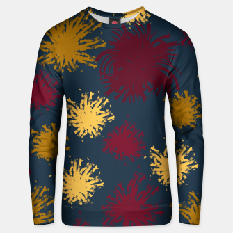 Thumbnail image of Red Ochre and Yellow Flowers on Blue Unisex sweater, Live Heroes
