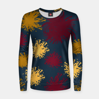 Thumbnail image of Red Ochre and Yellow Flowers on Blue Women sweater, Live Heroes