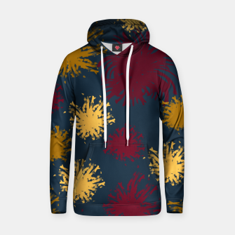 Thumbnail image of Red Ochre and Yellow Flowers on Blue Hoodie, Live Heroes