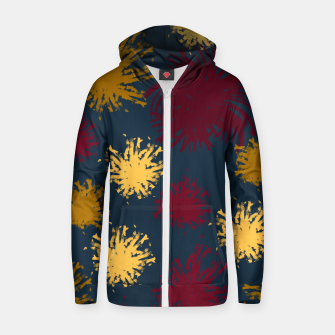 Thumbnail image of Red Ochre and Yellow Flowers on Blue Zip up hoodie, Live Heroes