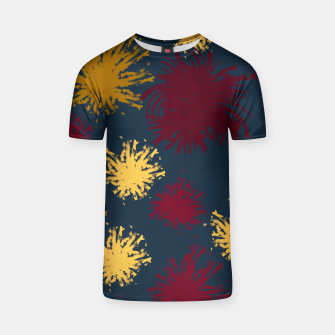 Thumbnail image of Red Ochre and Yellow Flowers on Blue T-shirt, Live Heroes
