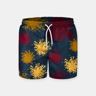 Thumbnail image of Red Ochre and Yellow Flowers on Blue Swim Shorts, Live Heroes