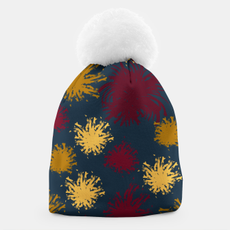 Thumbnail image of Red Ochre and Yellow Flowers on Blue Beanie, Live Heroes