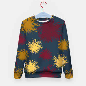 Thumbnail image of Red Ochre and Yellow Flowers on Blue Kid's sweater, Live Heroes