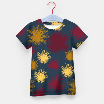 Thumbnail image of Red Ochre and Yellow Flowers on Blue Kid's t-shirt, Live Heroes