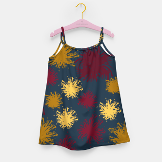 Thumbnail image of Red Ochre and Yellow Flowers on Blue Girl's dress, Live Heroes