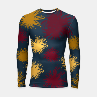 Thumbnail image of Red Ochre and Yellow Flowers on Blue Longsleeve rashguard , Live Heroes