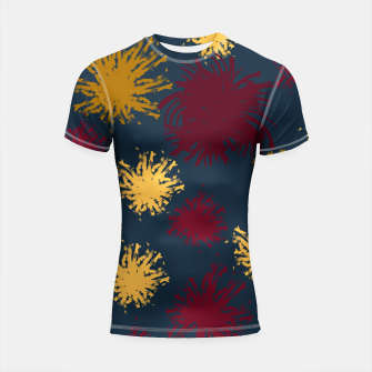 Thumbnail image of Red Ochre and Yellow Flowers on Blue Shortsleeve rashguard, Live Heroes